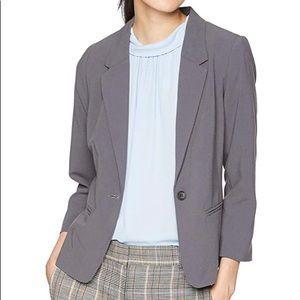 Kensie Stretch Crepe Blazer Gray Size L Polka Dot
